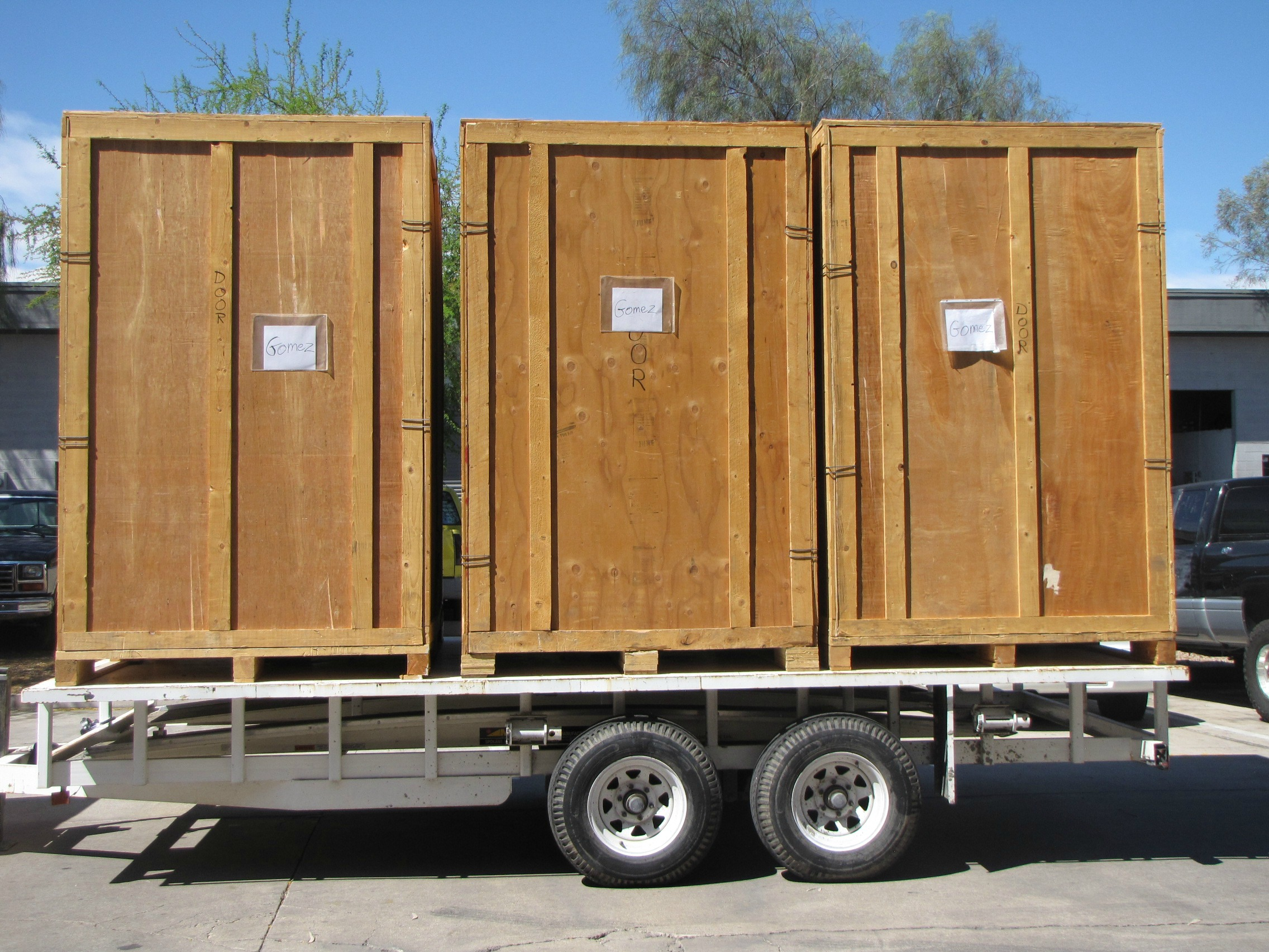 Three Crates On Trailer